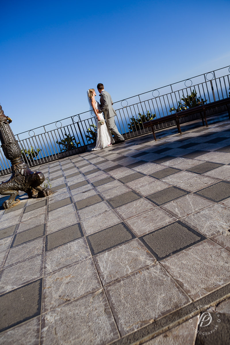 Mediterranean Sea view bride and groom